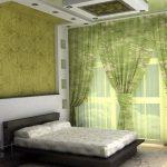натуральные материалы в спальне экостиль с зелеными занавесками и стеной
