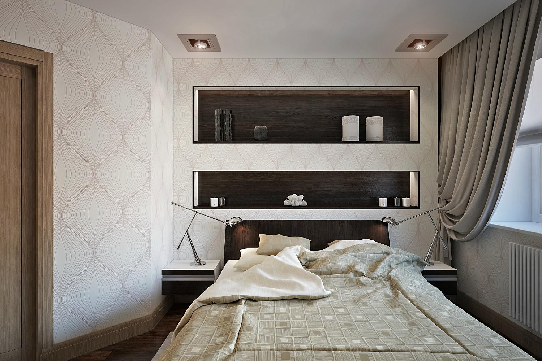 ниши для полок в интерьере спальни