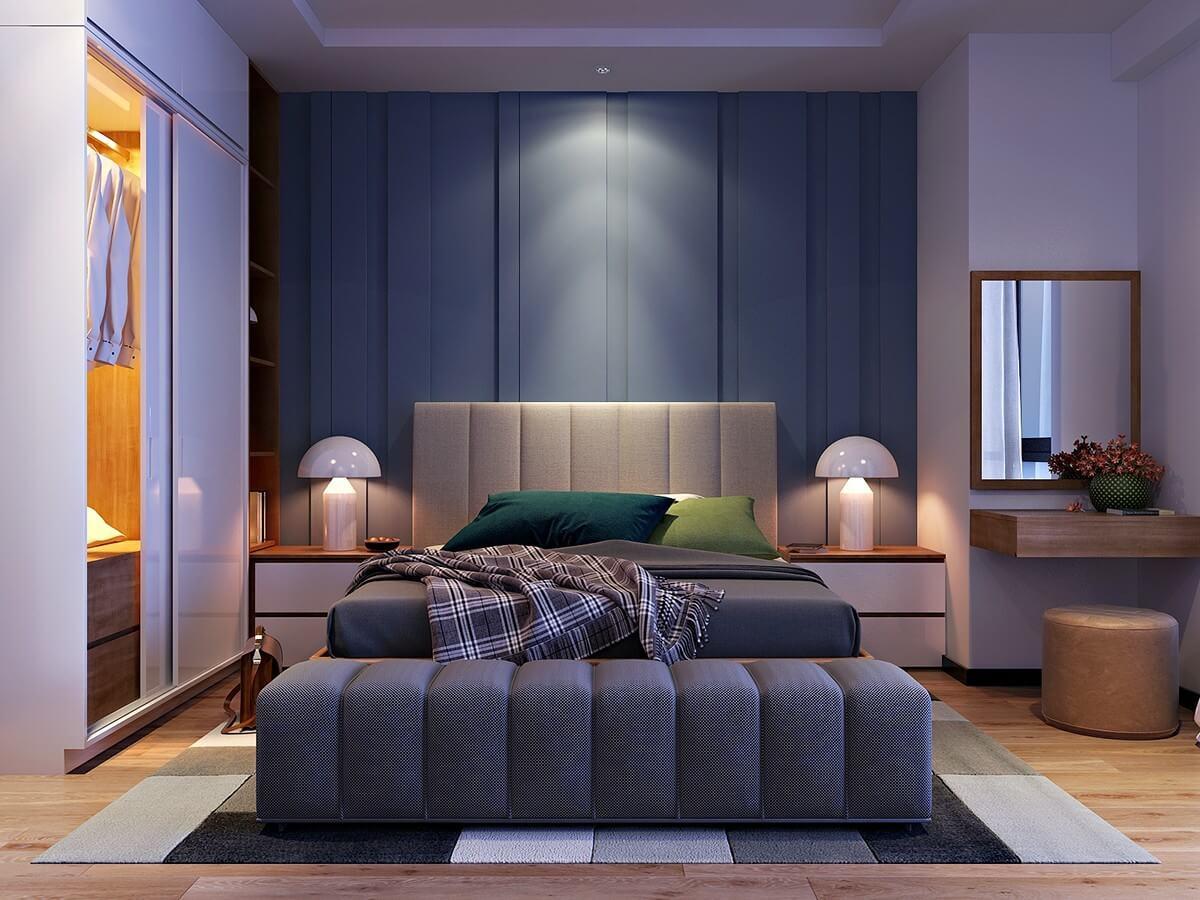 потолочное освещение в синей спальне с шионером под потолок