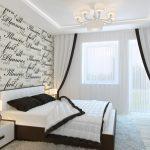 спальня минимализм с росписной стеной у кровати