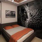 фтообои над кроватью гепард