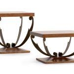 прикроватный столик деревянный с коваными ножками