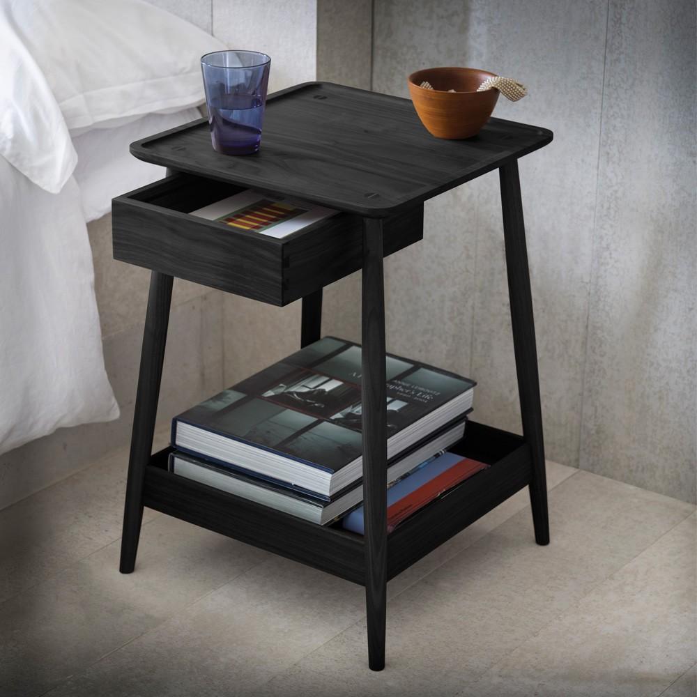 прикроватный столик черный с ящиком
