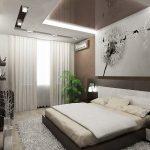 спальня в современном стиле с одуванчиком на стене