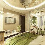 Современный зеленый дизайн спальи