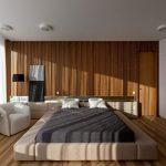 спальня в стиле минимализм с кроватью подиумом