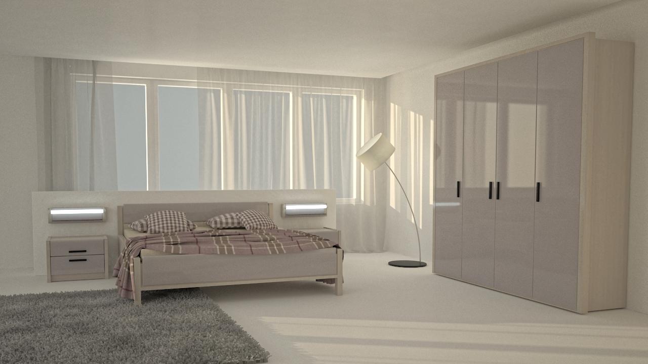 бежевая спальня в стиле минимализм с глянцевым шифонером