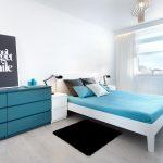 мятная спальня в стиле минимализм
