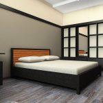 спальное место и гардеров в стиле минимализм