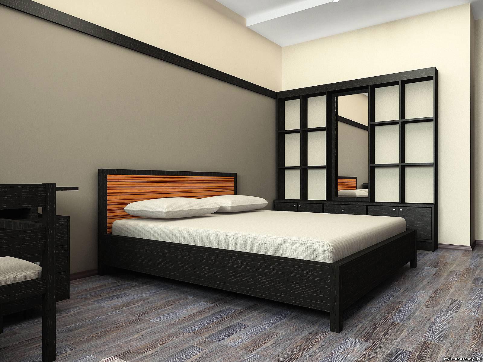спальное место и гардероб в стиле минимализм