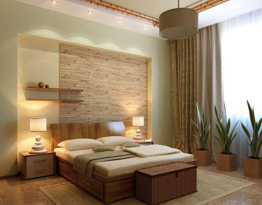 спальня экостиль с деревянной мебелью и цветами