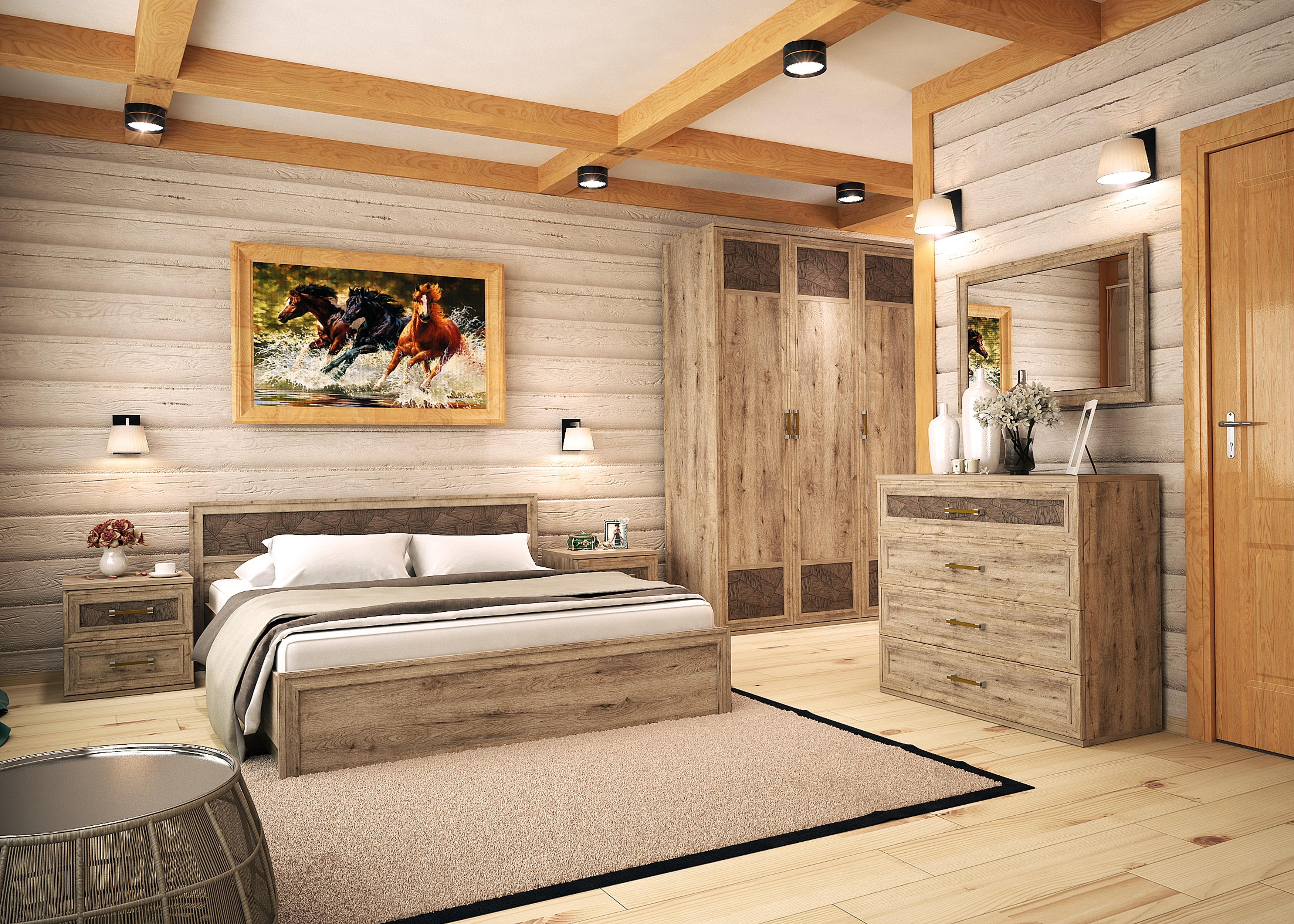 спальня кантри с грубой деревянной мебелью