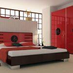 спальня красная в японском стиле