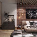 спальня лофт с кирпичной стеной с реечным потолком