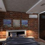 спальня лофт со стеной из красного кирпича и зеркальным шкафом