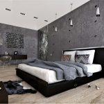 спальня лофт с серыми стенами низкой кроватью