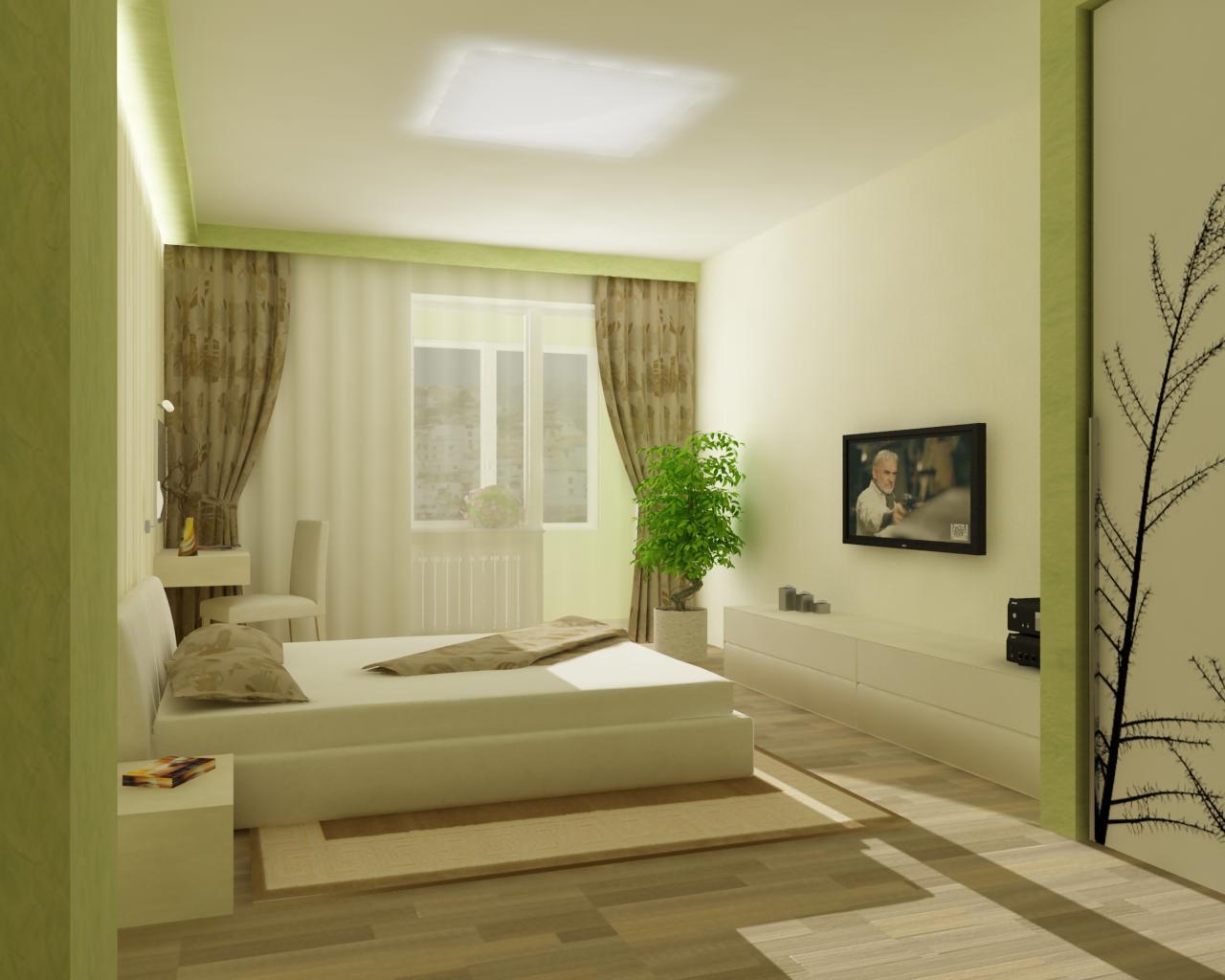 спальня минимализм в оливковом цвете