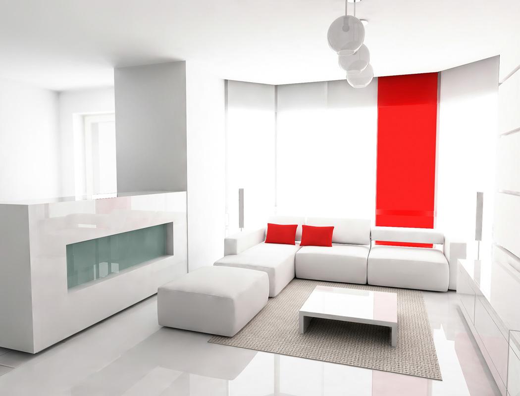 спальня в стиле минимализм с красным декором