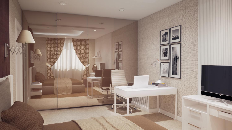 спальня модерн с высоким зеркальным шкафом