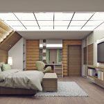 спальная комната под крышей