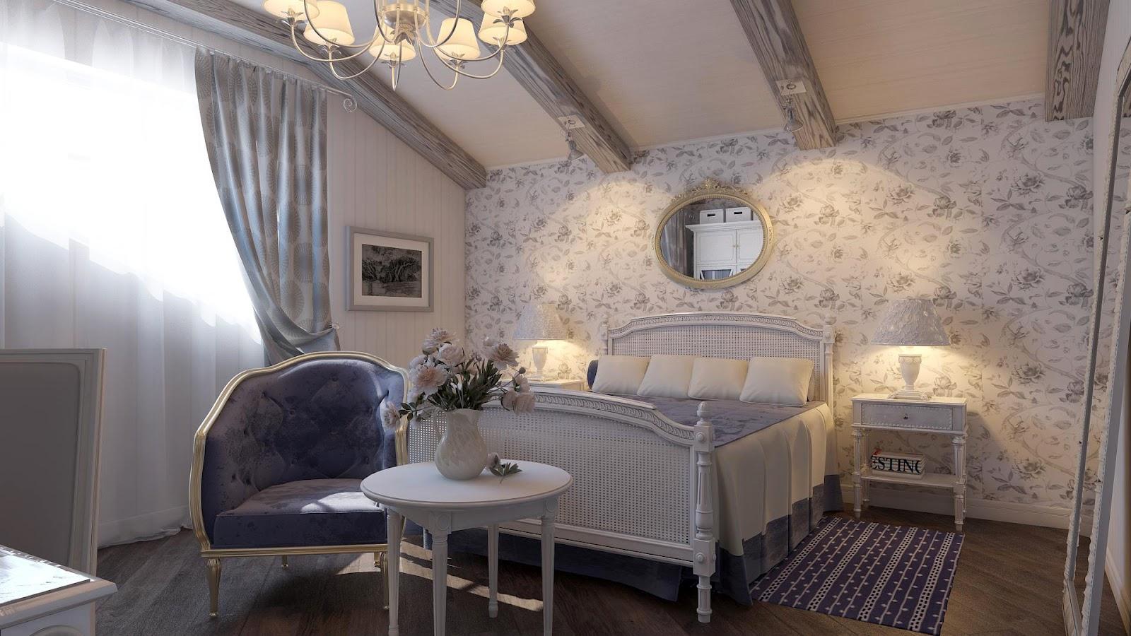спальня прованс с кроватью креслом и столиком