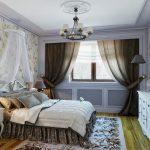 спальня в стиле прованс, подушки на кровати, торшеры
