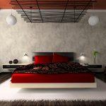 спальня с красными оттенками декора
