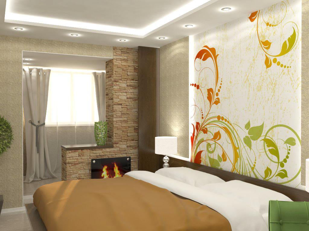 спальня с объединенной лоджией