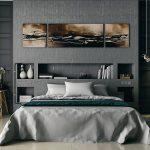 спальня серая с бирюзовыми оттенками декора