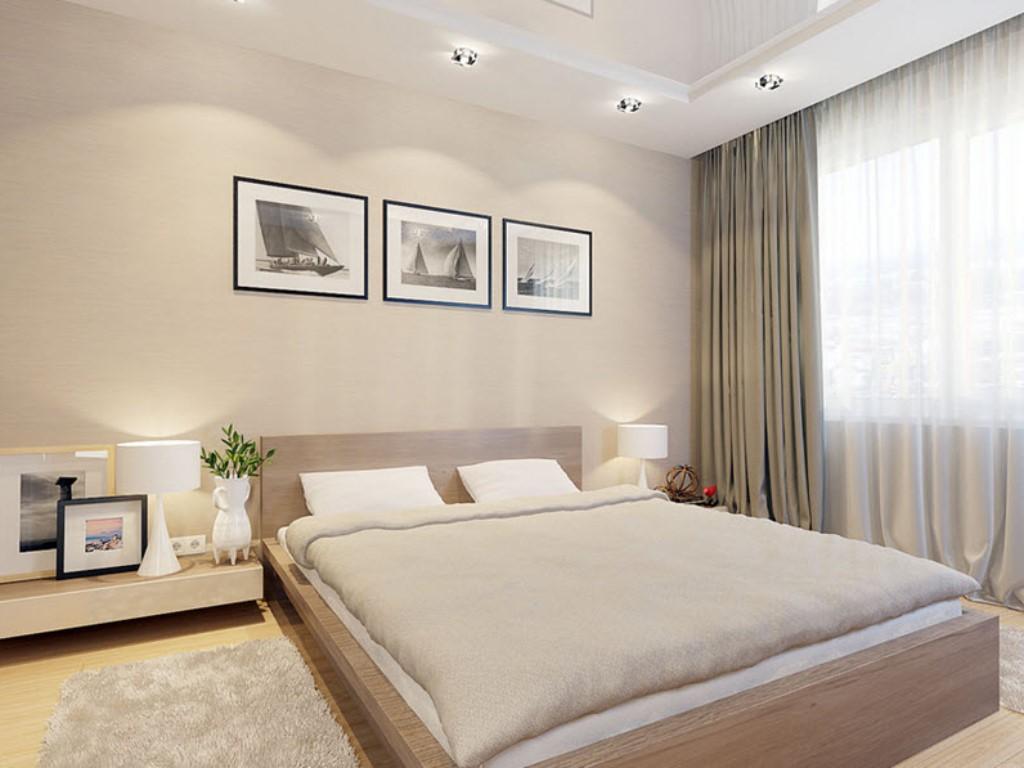 спальня в стиле минимализм пастельных оттенков
