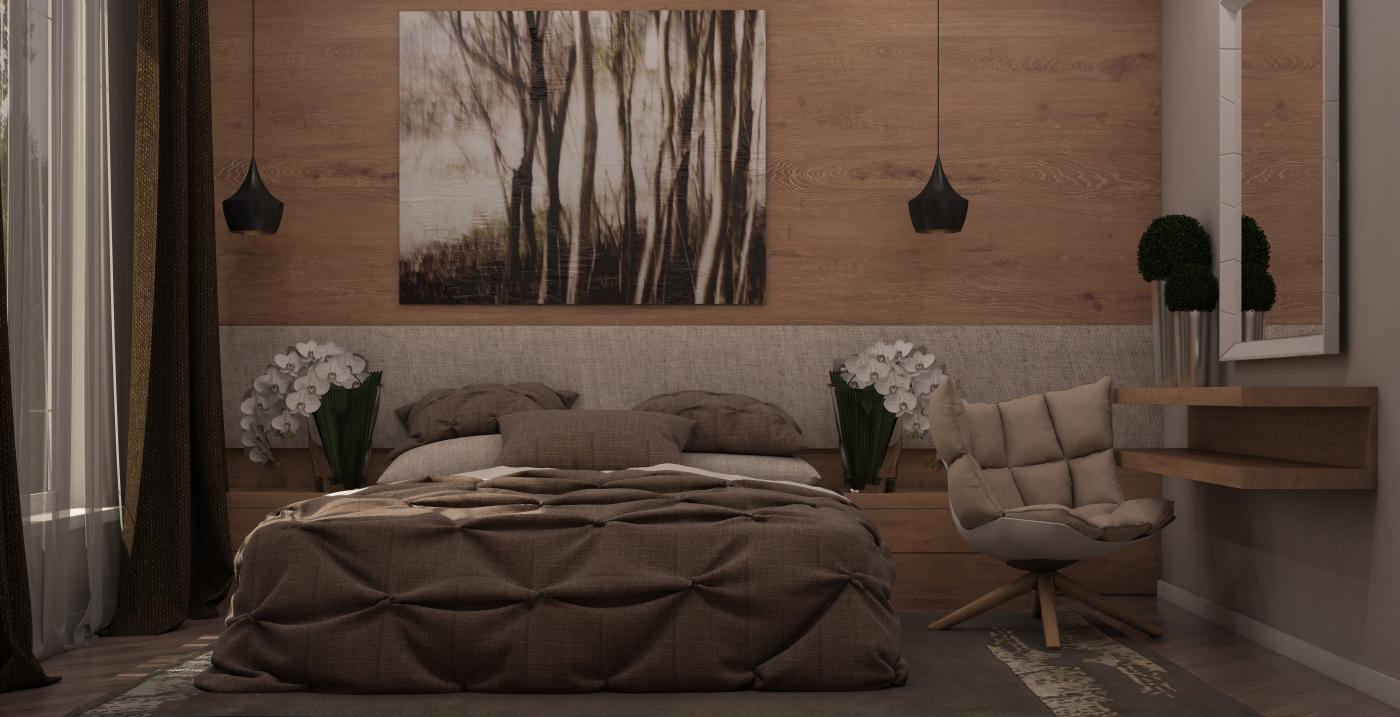 спальня в эко стиле под дерево