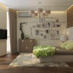 спальня в эко стиле с рамками на стене
