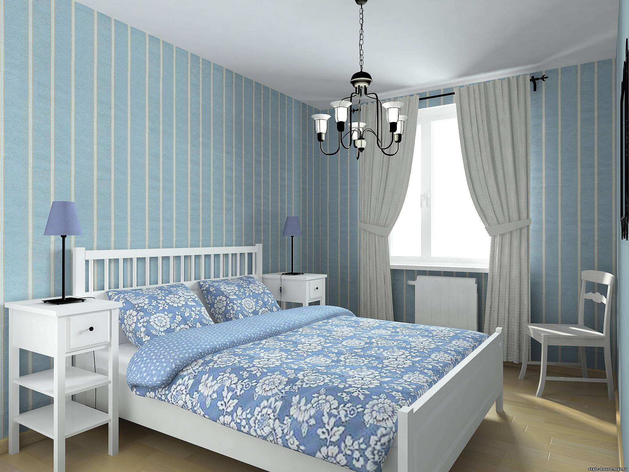 бело-голубая спальня