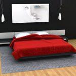 спальня в красно-черных оттенках и черно-белым постером