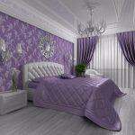 спальня в современном стиле сиреневых оттенков