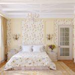спальня в стиле кантри, покрывало и стены в мелкий цветок