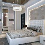 спальня в стиле модерн, большие светильники