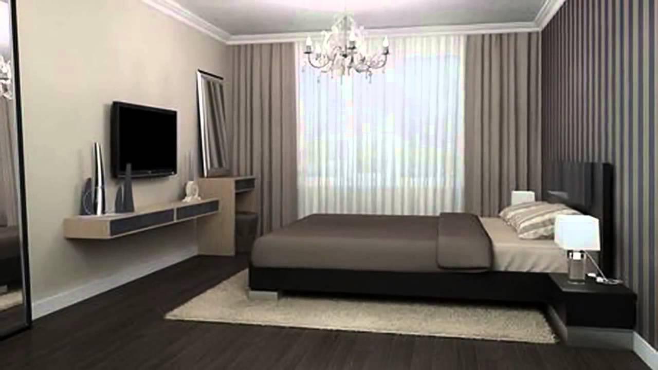 плоский телевизор на стене в интерьере спальни в стиле минимализм