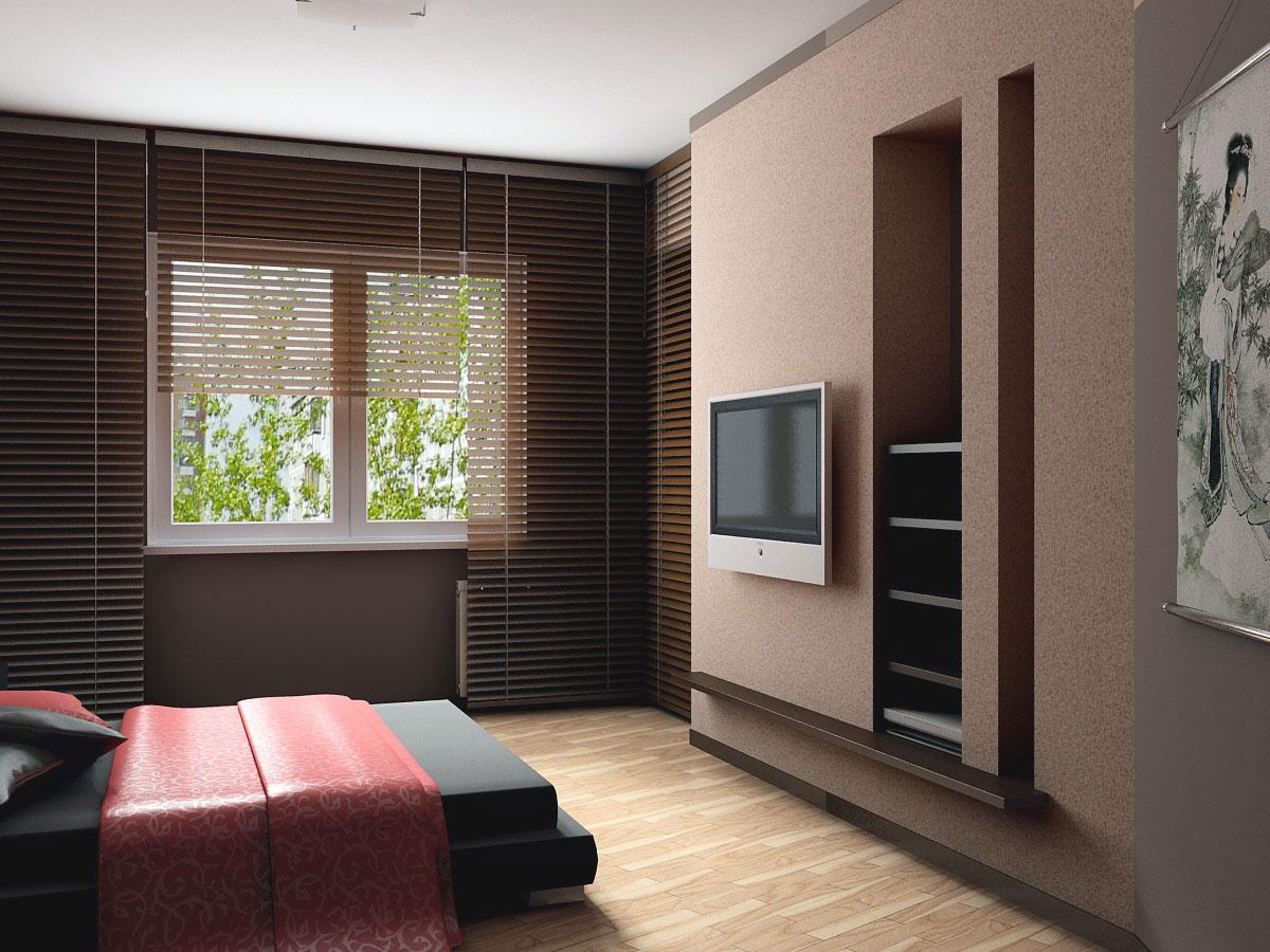 длинные жалюзи на окнах и плоский телевизор на стене в спальне