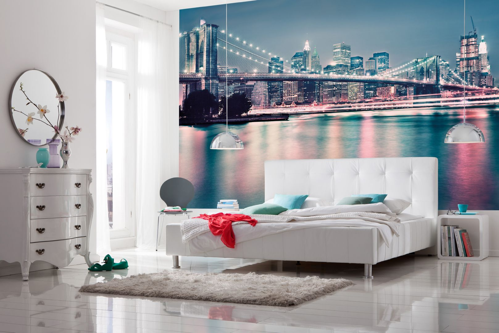 фотообои над кроватью ночной город