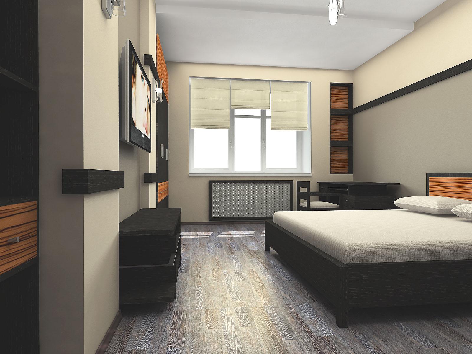 интерьер спальни в стиле минимализм с жалюзями на окнах