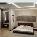 зонирование спальной комнаты в стиле минимализм