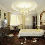 дизайн спальни в стиле антик со шкурой у кровати