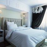 белая спальня с черными занавесками
