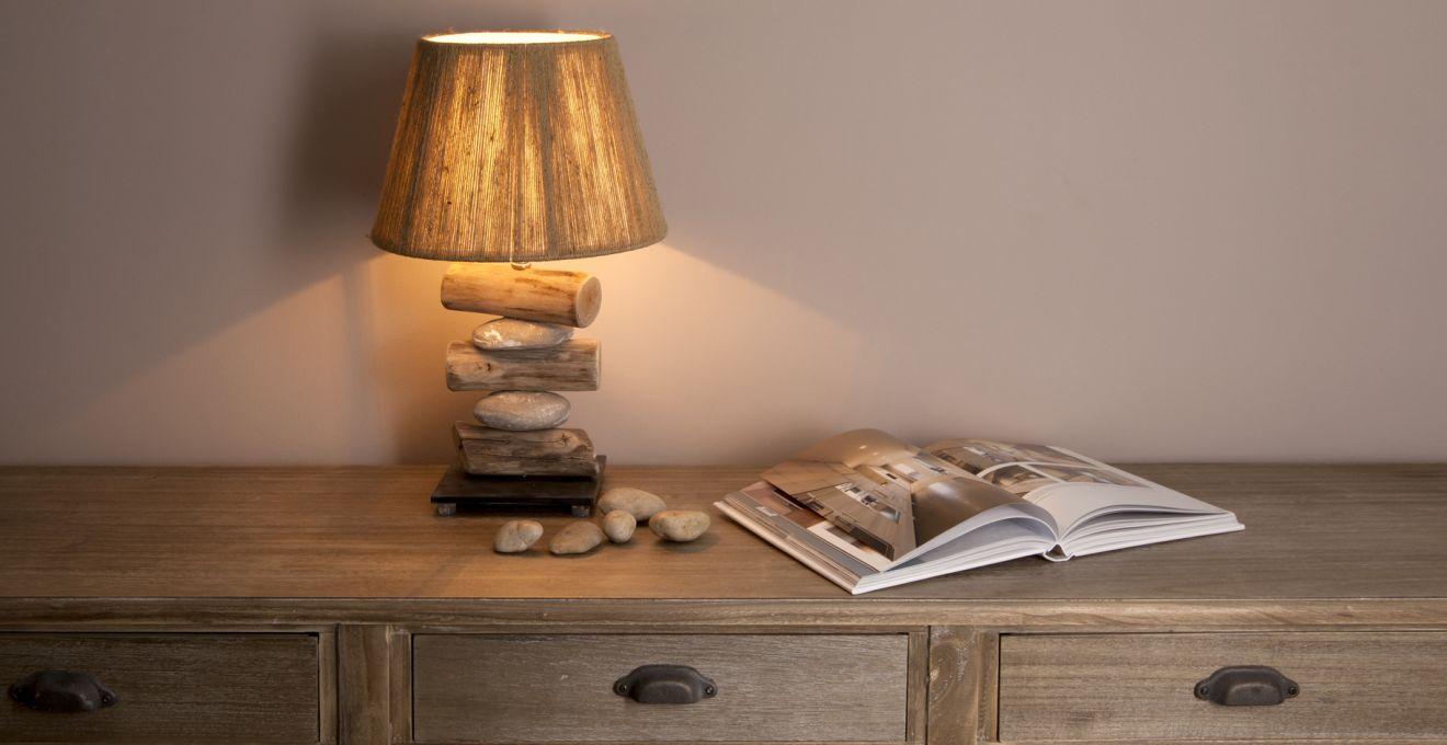 декор в эко стиле - лампа деревянная