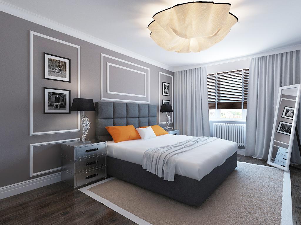 краивый дизайн спальни с большой люстрой