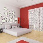 дизайн спальни в стиле авангард с круглыми зеркалами у изголовья кровати