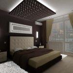 дизайн интерьера спальни коричневые оттенки текстиля