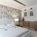 дизайн интерьера спальни с росписной сстеной
