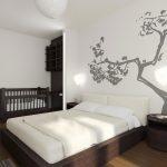 дизайн интерьера спальни с детской эко стиль